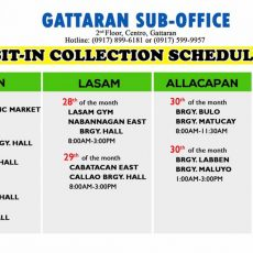 GATTARAN SUB-OFFICE SIT-IN COLLECTION SCHEDULE